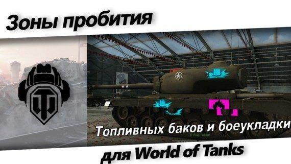 Зоны пробития топливных баков и боеукладки танков для World of Tanks